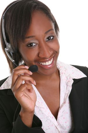 A pretty customer service business woman on the phone Stock Photo - 1280909