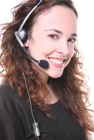 A pretty customer service woman with headphone photo