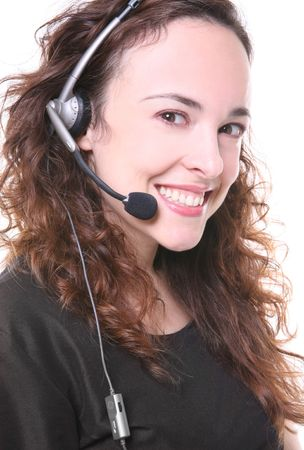 A pretty customer service woman with headphone photo
