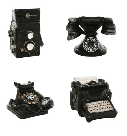 A antique, vintage typewriter, camera and phone Stock Photo - 1327111