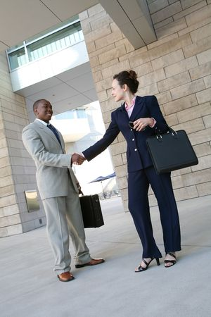 Two business professionals, man and woman, shaking hands Stock Photo - 1328992