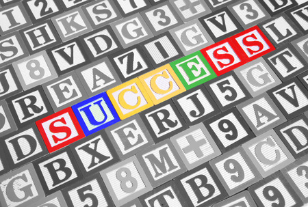Success spelled out in colorful toy blocks Stock Photo - 1413271