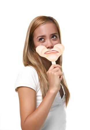 A pretty young girl putting on her sad face Stock Photo - 1431381