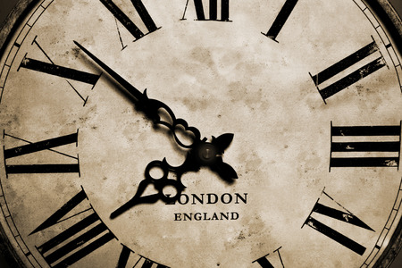 An old antique vintage grandfather clock close-up
