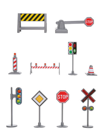 A large variety of traffic signs over a white background photo