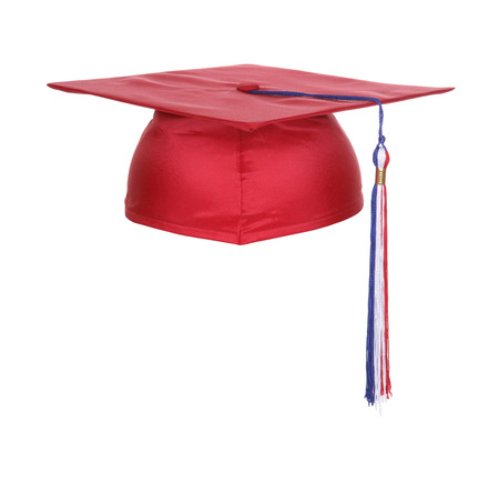 A red white and blue graduation cap isolated over white Standard-Bild