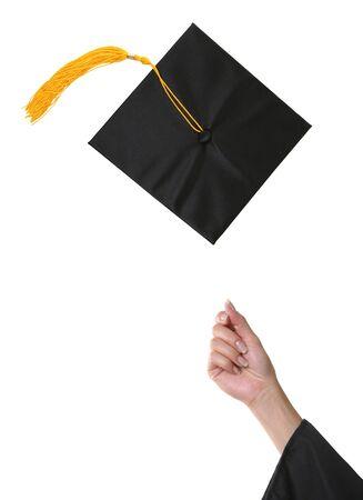 空気に投げ出されて卒業キャップ 写真素材