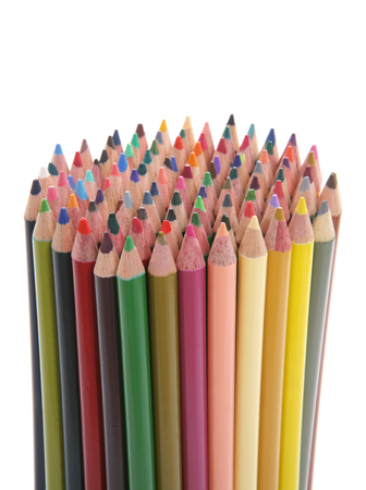 A large amount of colorful pencils over white Stock Photo