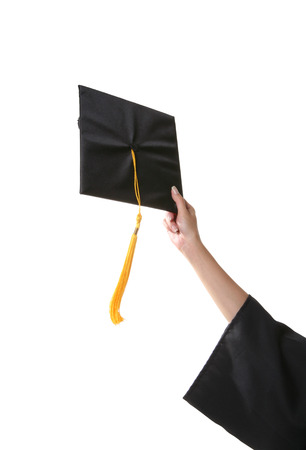 and acclaim: A graduation cap just about to be thrown