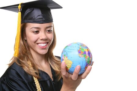 A pretty woman graduate holding a small globe Stock Photo - 1565929