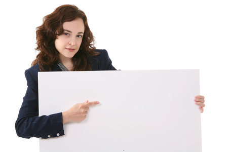 ad: A pretty business woman holding a blank sign Stock Photo