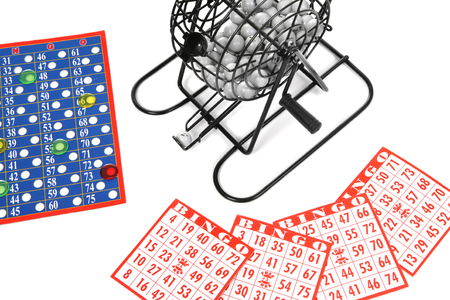 numers: A game of bingo over a white background Stock Photo