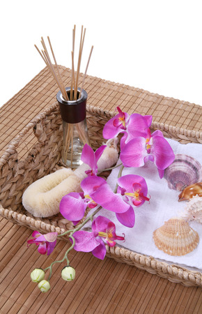 A basket full of supplies for a bath or massage photo