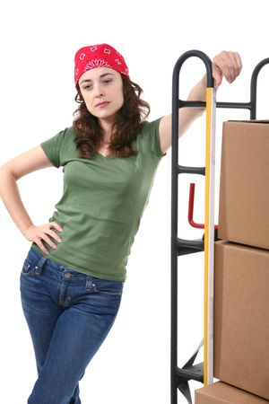 two wheel: A pretty woman moving and shipping using a two wheel push cart