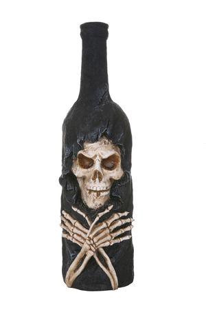A bottle with skeleton representing the dangers of drinking photo