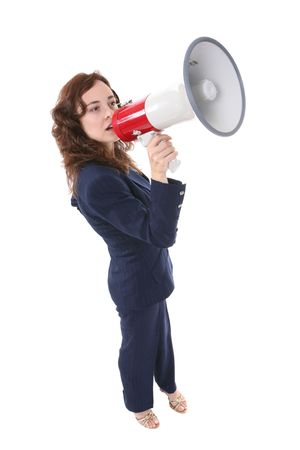 reprimand: A business woman speaking into a megaphone