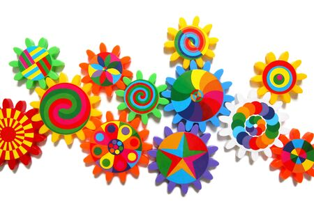 gears cogs: Colorful gears, cogs, toothed wheels isolated over white