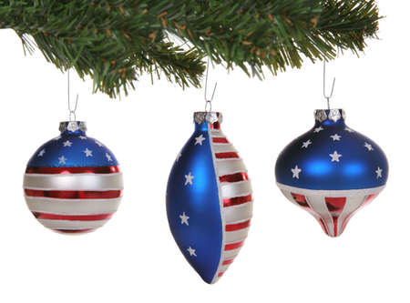 United States flag ornaments over a white background photo