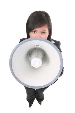 berisping: Een vrouw zakelijke leider geschreeuw in een megafoon (Focus op megafoon) Stockfoto
