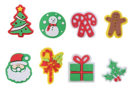 Eight colorful Christmas icons isolated over white Stock Photo - 1907370