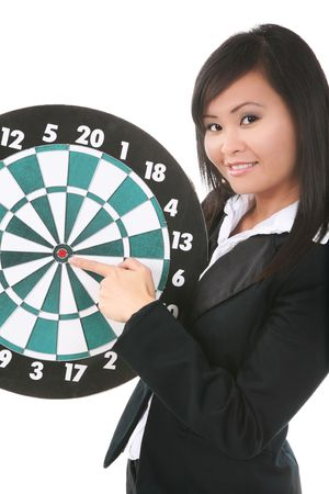A pretty asian business woman pointing to the bullseye on a target board photo