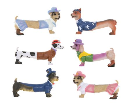 Six humorous hot dogs, dachshund breed dogs