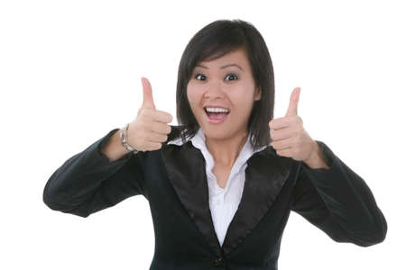 An attractive young female asian woman with thumbs up Stock Photo - 1907346