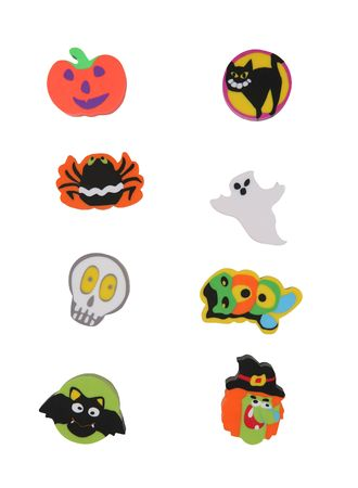 Calabazas, fantasmas, monstruos, esqueleto iconos de Halloween  Foto de archivo - 1936276