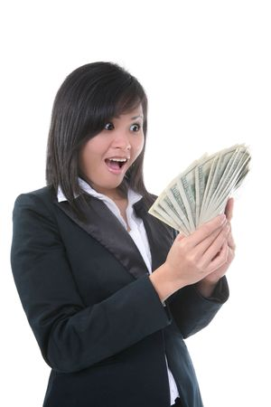 a lot of money: A rich young business woman with a lot of money