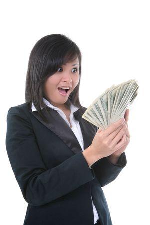 mucho dinero: Una mujer de negocios joven rica con muchos de dinero Foto de archivo