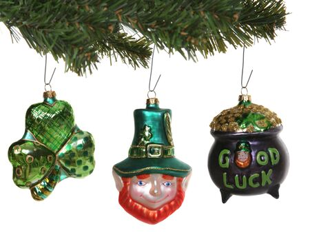 A clover, leprechaun, and pot of gold Saint Patricks Day Ornaments Stock Photo - 1987166