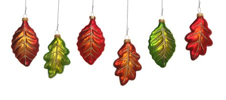 Six colorful leaf ornaments hanging from a tree Stock Photo - 1991369