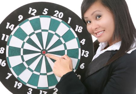 A pretty asian business woman pointing to the bullseye on a target board Stock Photo - 2032114