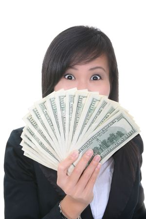 earn money: A rich young business woman with a lot of money