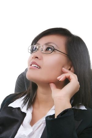 A pretty asian business woman deep in thought photo