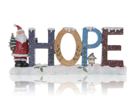 reflect: A Christmas themed hope sign with santa claus