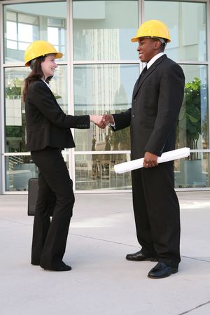 A handsome architect meeting with a client at the worksite Stock Photo - 2094353