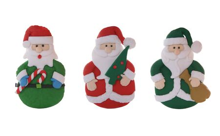 candycane: Three color santa claus ornaments isolated over white