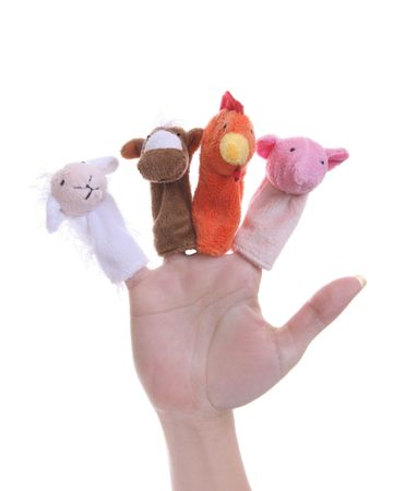 puppets: A pig, lamb, horse, and rooster  finger puppets