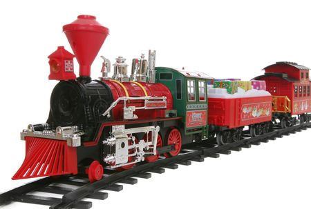 christmas train: A colorful Christmas train carrying a load of presents
