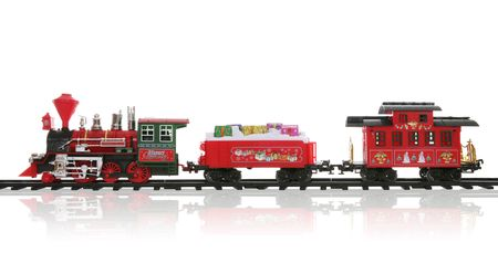 caboose: A colorful holiday Christmas train over a white background Stock Photo
