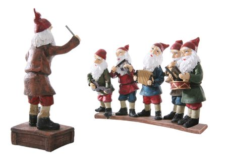Musical dwarves playing musical instruments during Christmas