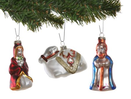 Religious Christmas ornaments isolated over a white background Stock Photo - 2232818
