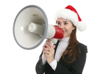 amplify: A pretty business woman using a megaphone at Christmas