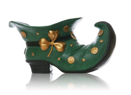 saint patricks: A colorful saint patricks day boot over a white background