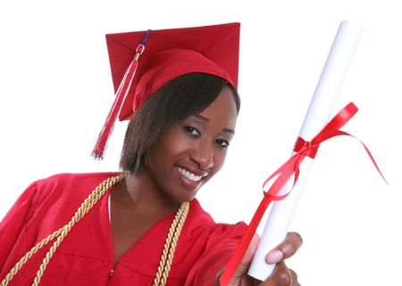 A pretty woman holding her diploma at graduation Stock Photo - 2416563