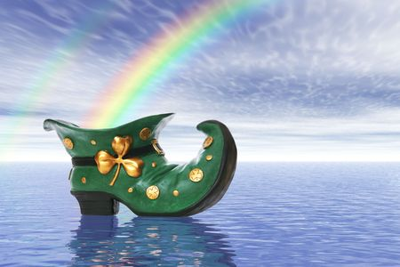 A colorful saint patricks day boot with rainbow Stock Photo - 2416569
