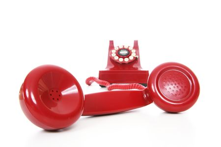 hotline: A red hot-line phone over a white background Stock Photo