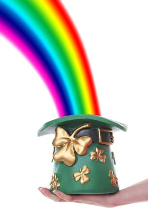 A beautiful rainbow ending in a Saint Patrick's Day Hat Stock Photo - 2487437