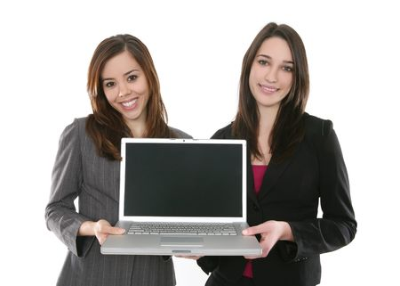 A pretty business woman team working on the laptop computer